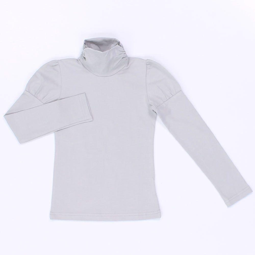Белая блуза для девочки с высоким горлом
