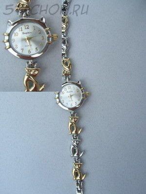 """Часы женские """"Кошка"""" золото+серебро светлые (на браслете)"""