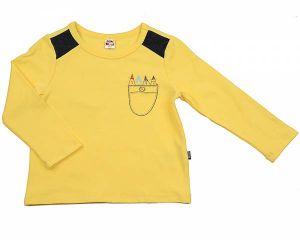 Лонгслив желтый для мальчика с принтом кармашка Мини Макси 1799