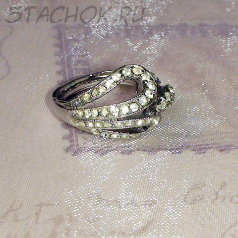 Кольцо объемное под серебро