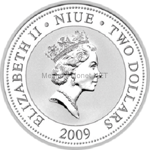 2 доллара островного государства Ниуэ 2010 года Любовь драгоценна - черный лебедь