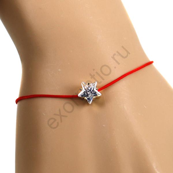 """Браслет Fashion Jewelry. Браслет """"Красная нить"""" с цирконом"""