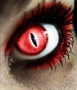 Линза кошачий глаз, красная