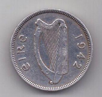 1 шиллинг 1942 г. AUNC. редкий год. Ирландия. Великобритания