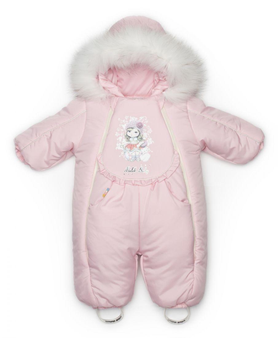 Зимний розовый комбинезон для девочки 1 года