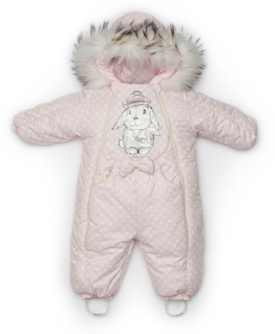 Комбинезон для девочки 1 года зимний Розовый заяц