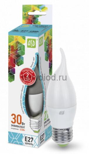 Лампа сд LED-СВЕЧА НА ВЕТРУ-std 3.5Вт Е14 4000К 320Лм ASD