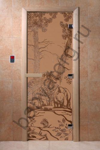 Дверь для бани DoorWood Мишки в лесу Бронза матовая