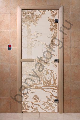 Дверь для бани DoorWood Мишки в лесу Сатин