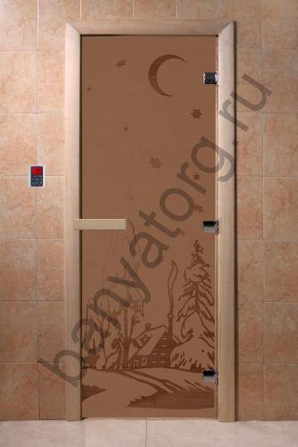 Дверь для бани DoorWood Зима Бронза матовая