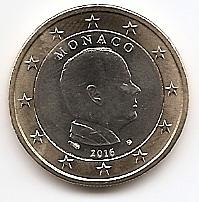 1 евро Монако 2016 регулярная UNC