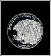 20 рублей 2011 Беларусь Еж цветной глаз Белоруссия посеребрение копия