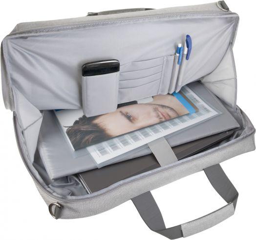"Сумка для ноутбука Defender Lago 17"" серый, органайзер, карман"