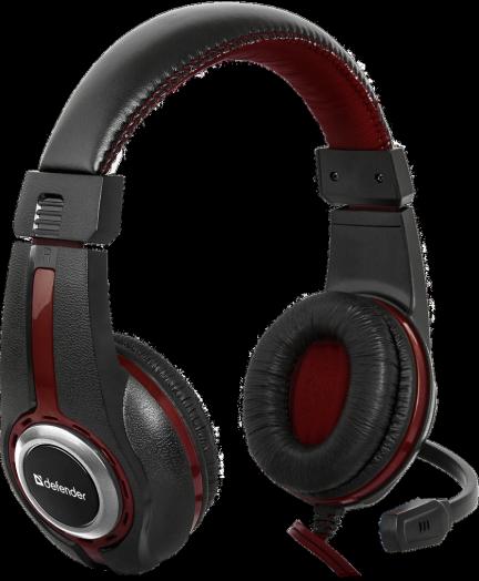 Мониторные наушники с микрофоном Игровая гарнитура Defender Warhead G-185 черный + красный, кабель 2 м
