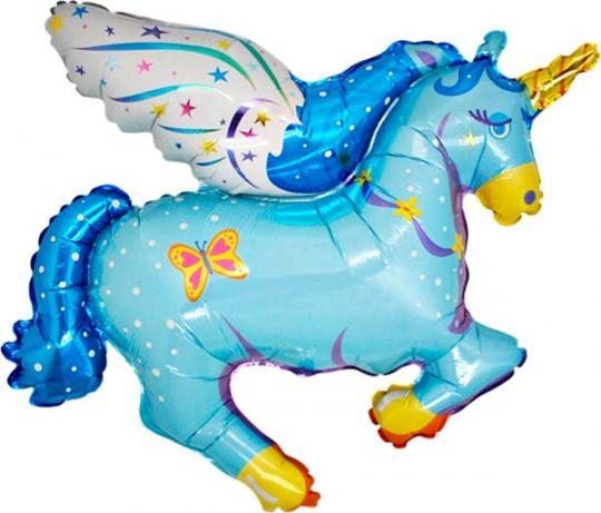 Единорог голубой фольгированный шар с гелием
