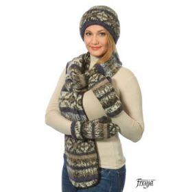 Комплект шапка, шарф, варежки вязаный из Исландской шерсти 08197-76