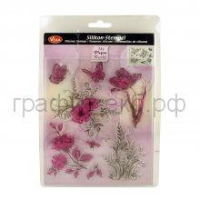 Трафарет универсальный 14х18 Цветы и бабочки силиконовый Viva Decor 400300100