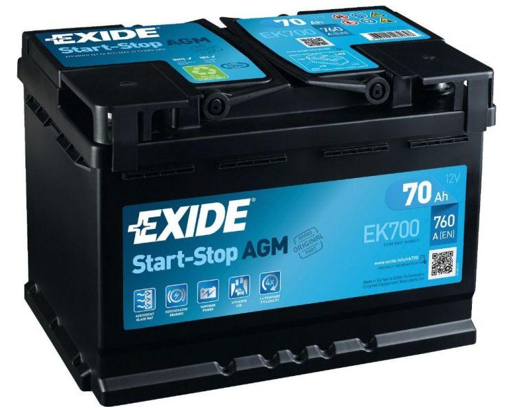 Автомобильный аккумулятор АКБ Exide (Эксайд) Start-Stop AGM EK700 70Ач о.п.
