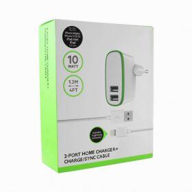 Зарядное устройство (2USB) 2A + кабель для iphone