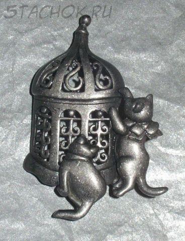 """Брошь """"Пара котят у клетки"""" под олово (бесплатная доставка из Великобритании)"""