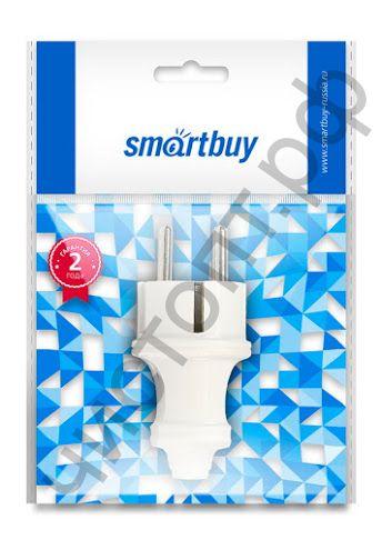 Вилка прямая с заземлением Smartbuy белая 16А 250В (SBE-16-P01-w)