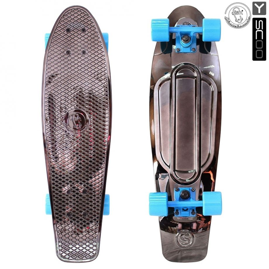 Скейтборд Y-SCOO Big Fishskateboard metallic 27″ винил с сумкой BLACK BRONZAT/blue