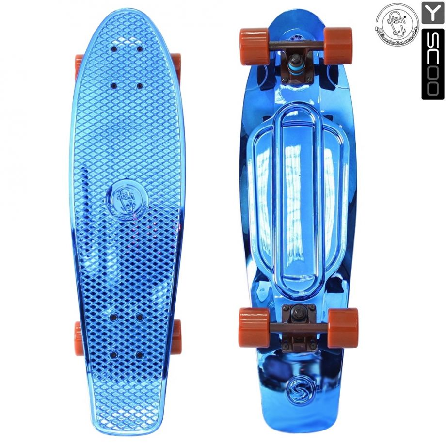 Скейтборд Y-SCOO Big Fishskateboard metallic 27″ винил с сумкой BLUE/brown