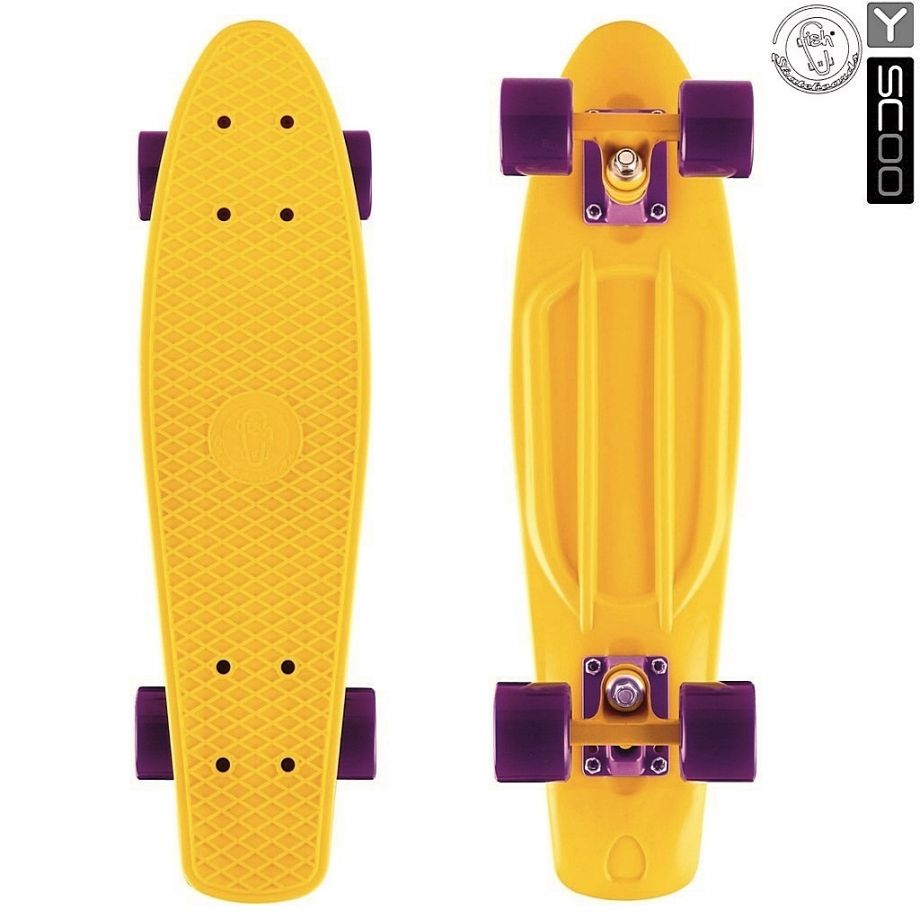 Скейтборд Y-SCOO Big Fishskateboard metallic 27″ винил с сумкой YELLOW/dark purple
