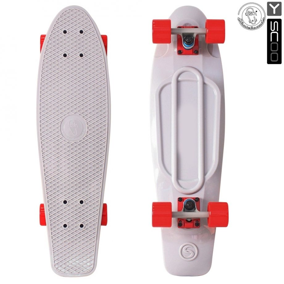 Скейтборд Y-SCOO Big Fishskateboard metallic 27″ винил с сумкой GREY/red