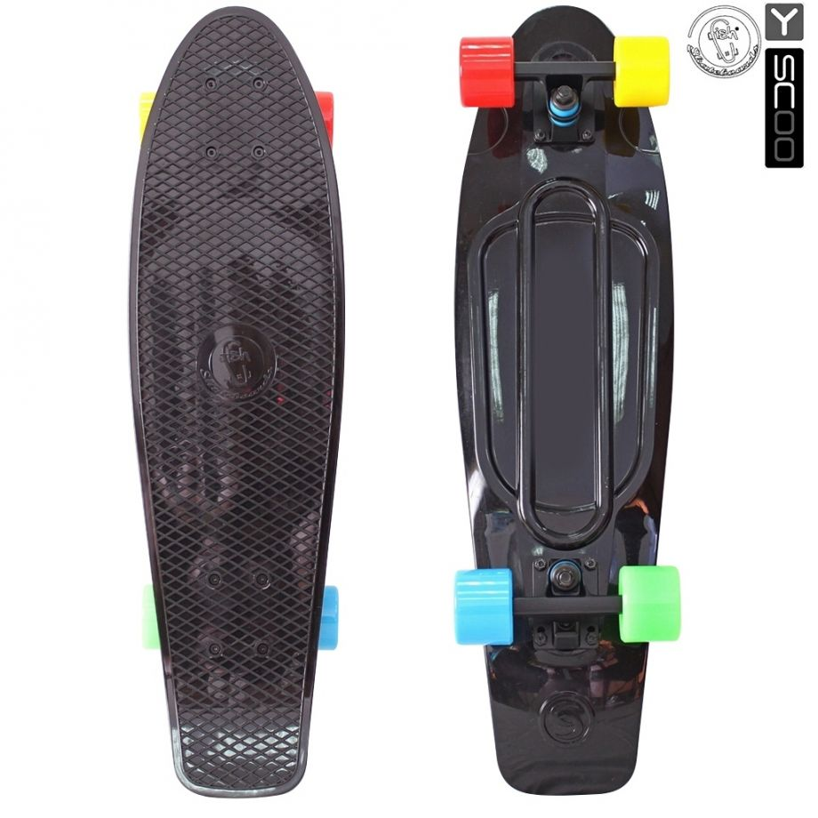 Скейтборд Y-SCOO Big Fishskateboard metallic 27″ винил с сумкой BLACK/4-blue,yellow,green,red