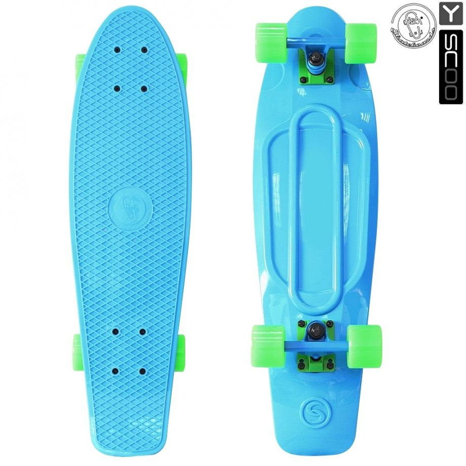 "Скейтборд Y-SCOO Fishskateboard 22"" винил с сумкой BLUE/green"