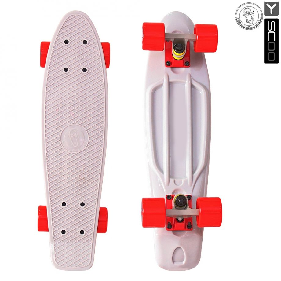 "Скейтборд Y-SCOO Fishskateboard 22"" винил с сумкой GREY/red"