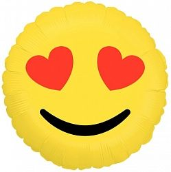 Эмоджи влюбленный смайл шар фольгированный с гелием