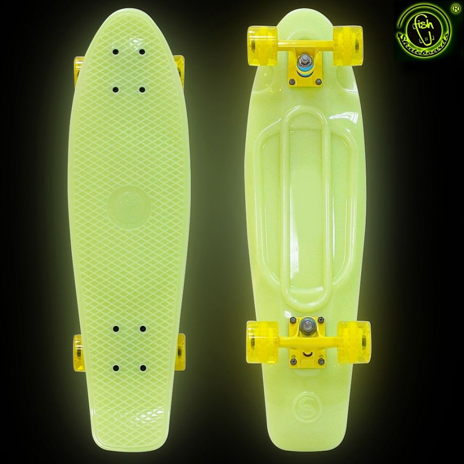 Скейтборд Y-SCOO Big Fishskateboard GLOW 27″ винил с сумкой YELLOW/yellow