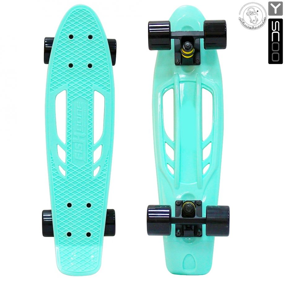 "Скейтборд Y-SCOO Skateboard Fishbone с ручкой 22"" с сумкой AQUA/black"