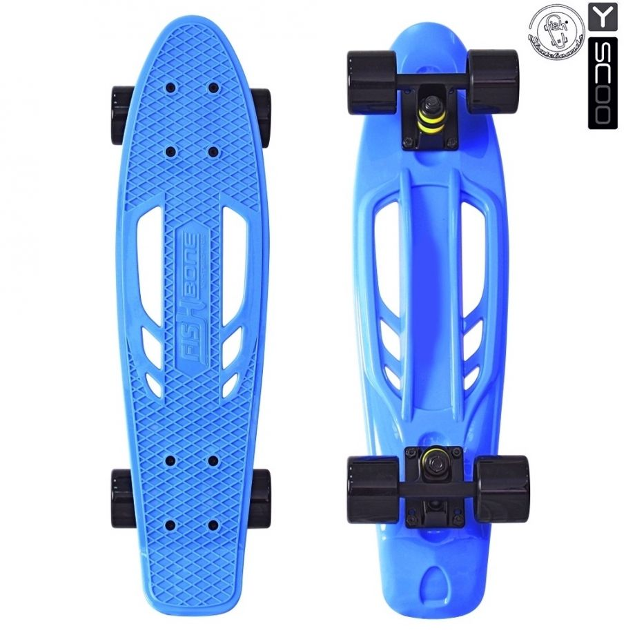 "Скейтборд Y-SCOO Skateboard Fishbone с ручкой 22"" винил с сумкой BLUE/black"