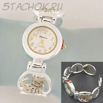 """Часы женские """"Котики и рыбки"""" с золотым котиком (на жестком браслете)"""