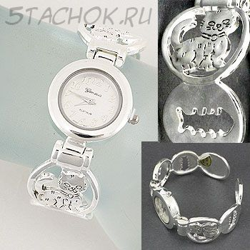 """Часы женские """"Котики и рыбки"""" с серебряным котиком (на жестком браслете)"""