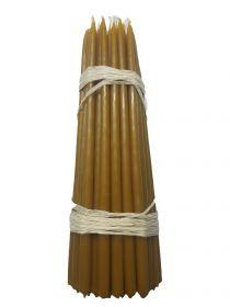 Восковые свечи третьего сорта №3ср вес 500 гр., высота 240 мм., диаметр 9 мм., 50 свечей в пачке.