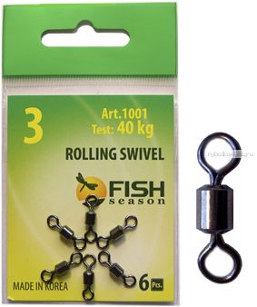 Вертлюг Fish Season Rolling Swivel цилиндрический вертлюжок (Артикул: 1001)упаковка