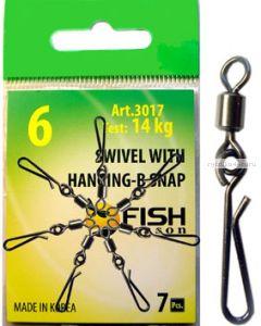 Вертлюг Fish Season с быстросъёмной застежкой Swiwel With hanging-b snap(Артикул:3017)