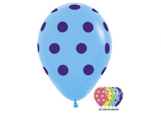 Разноцветные с разноцветным горошком латексные шары с гелием