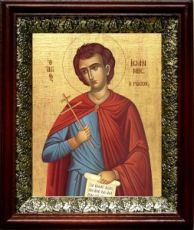 Иоанн Русский (19х22), темный киот