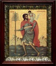Христофор Псеглавец (19х22), темный киот