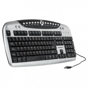 Клавиатура проводная SONNEN KB-M540, USB, мультимедийная, 20 доп. кнопок, серебристая, 511279
