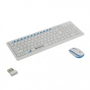 Набор беспроводной DEFENDER Skyline895,клавиатура, мышь 2кноп.+1кол.+1dpi, белый/голубой, 45895