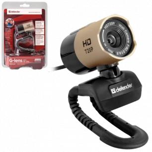 Веб-камера DEFENDER G-lens 2577 HD720p, 2Мп, микофон, USB2.0,рег.креп., золотист.+черн., 63177