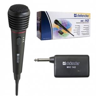 Микрофон беспроводной DEFENDER MIC-142, радиус действия до 15м, 72дБ, черный, 64142
