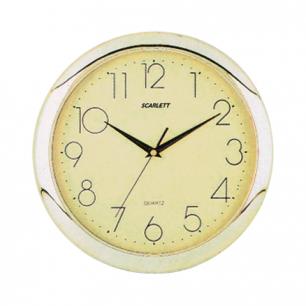 Часы настен. SCARLETT SC-45C круг, желтые, золотист.рамка, 28.8х28.8х3.7 см