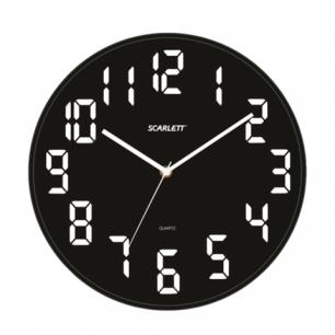 Часы настенные SCARLETT SC-55BL, круглые, черные, черная рамка, пластик, плавный ход 30,8х30,8х5,3см